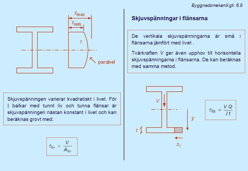 Byggnadsmekanik gk 6.10 V : tvärkraften I : Yttröghetsmoment för hela tvärsnittet kring medellinjen.