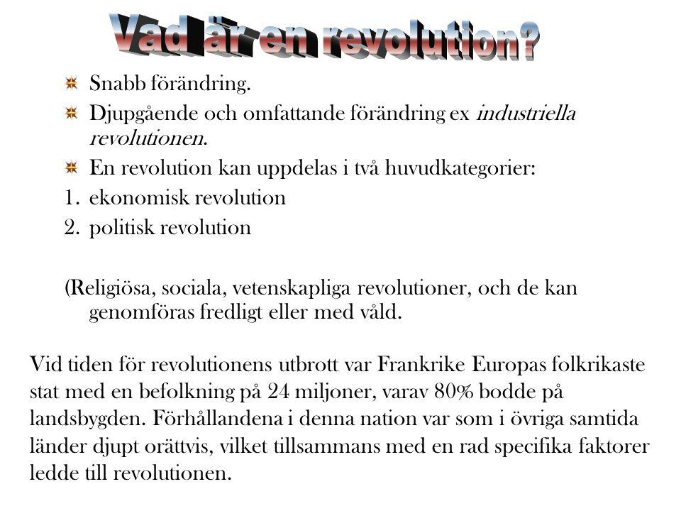 Vid tiden för revolutionens utbrott var Frankrike Europas folkrikaste stat med en befolkning på 24 miljoner, varav 80% bodde på landsbygden.