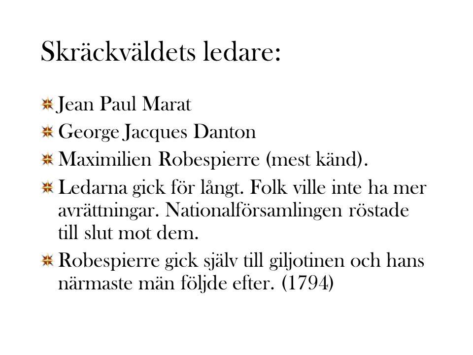 Skräckväldets ledare: Jean Paul Marat George Jacques Danton Maximilien Robespierre (mest känd).