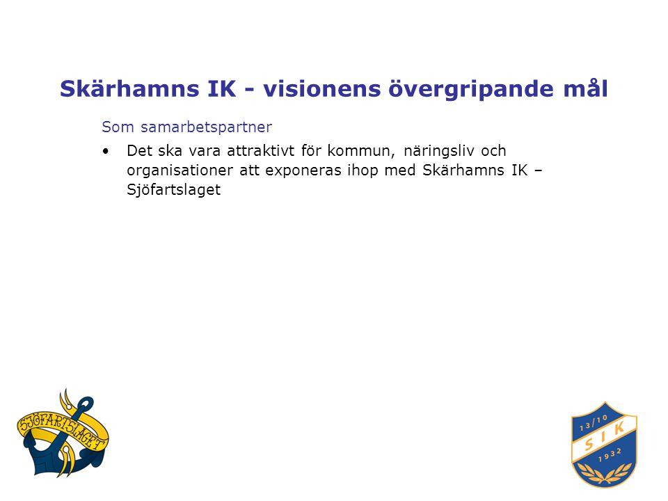 Skärhamns IK - visionens övergripande mål Som samarbetspartner Det ska vara attraktivt för kommun, näringsliv och organisationer att exponeras ihop med Skärhamns IK – Sjöfartslaget