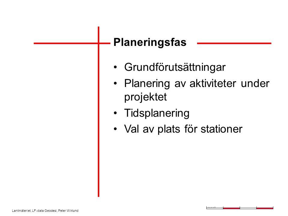 Lantmäteriet, LF-data Geodesi, Peter Wiklund Planeringsfas Grundförutsättningar Planering av aktiviteter under projektet Tidsplanering Val av plats för stationer