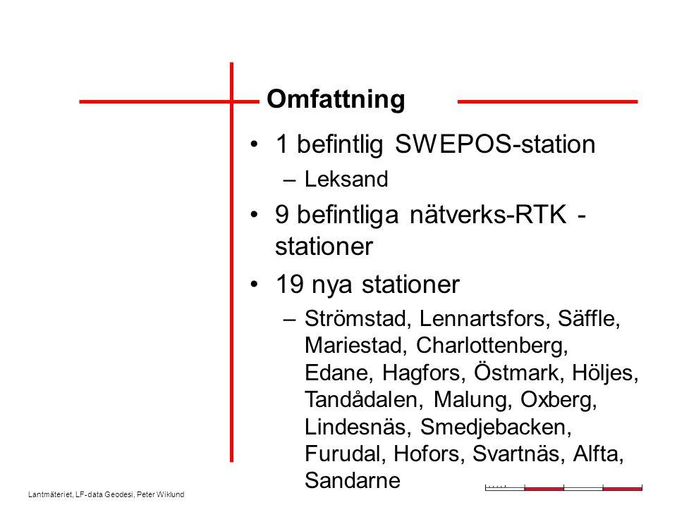 Lantmäteriet, LF-data Geodesi, Peter Wiklund Omfattning 1 befintlig SWEPOS-station –Leksand 9 befintliga nätverks-RTK - stationer 19 nya stationer –Strömstad, Lennartsfors, Säffle, Mariestad, Charlottenberg, Edane, Hagfors, Östmark, Höljes, Tandådalen, Malung, Oxberg, Lindesnäs, Smedjebacken, Furudal, Hofors, Svartnäs, Alfta, Sandarne