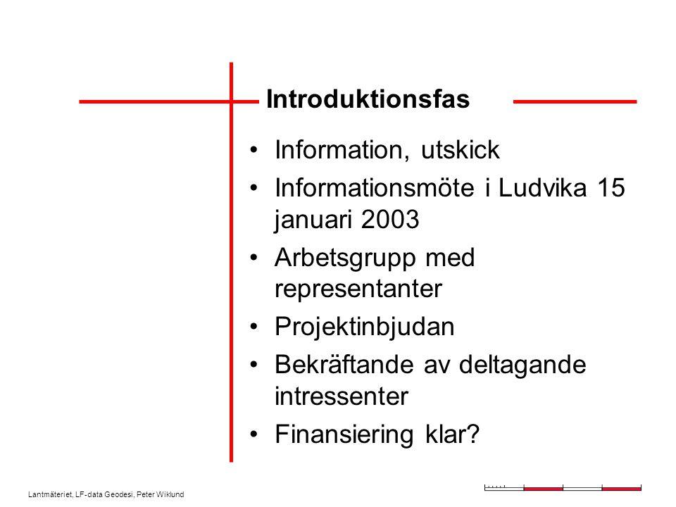 Lantmäteriet, LF-data Geodesi, Peter Wiklund Introduktionsfas Information, utskick Informationsmöte i Ludvika 15 januari 2003 Arbetsgrupp med representanter Projektinbjudan Bekräftande av deltagande intressenter Finansiering klar