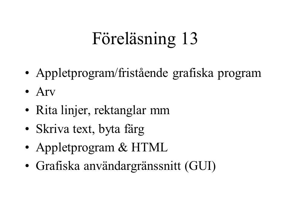 Föreläsning 13 Appletprogram/fristående grafiska program Arv Rita linjer, rektanglar mm Skriva text, byta färg Appletprogram & HTML Grafiska användargränssnitt (GUI)