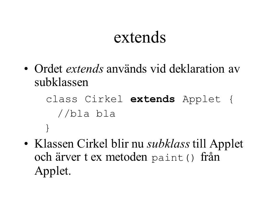 extends Ordet extends används vid deklaration av subklassen class Cirkel extends Applet { //bla bla } Klassen Cirkel blir nu subklass till Applet och