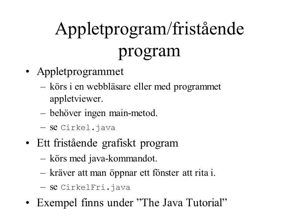 Appletprogram/fristående program Appletprogrammet –körs i en webbläsare eller med programmet appletviewer. –behöver ingen main-metod. –se Cirkel.java