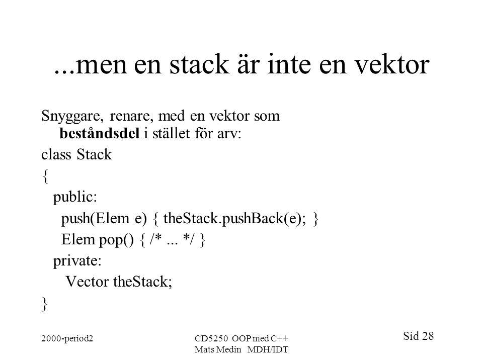 Sid 28 2000-period2CD5250 OOP med C++ Mats Medin MDH/IDT...men en stack är inte en vektor Snyggare, renare, med en vektor som beståndsdel i stället fö