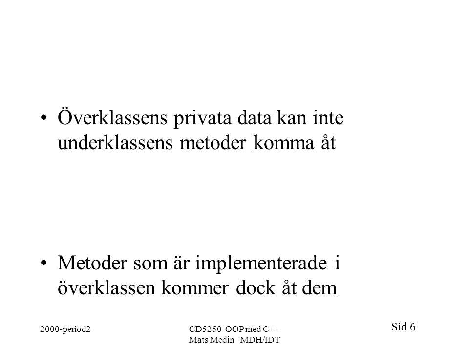 Sid 6 2000-period2CD5250 OOP med C++ Mats Medin MDH/IDT Överklassens privata data kan inte underklassens metoder komma åt Metoder som är implementerad