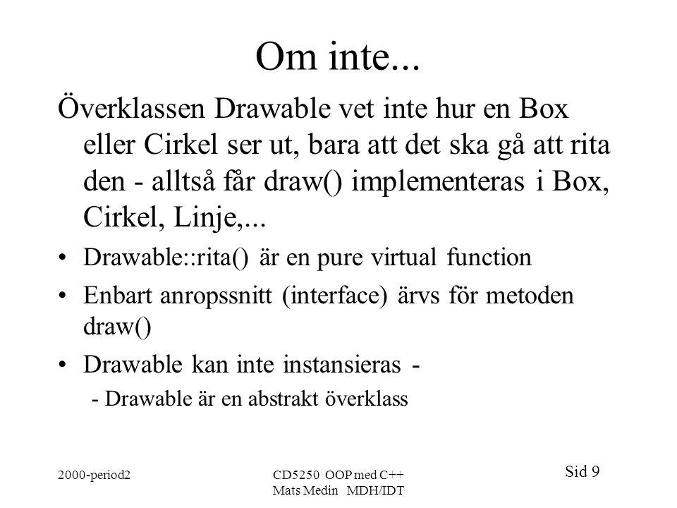 Sid 9 2000-period2CD5250 OOP med C++ Mats Medin MDH/IDT Om inte... Överklassen Drawable vet inte hur en Box eller Cirkel ser ut, bara att det ska gå a
