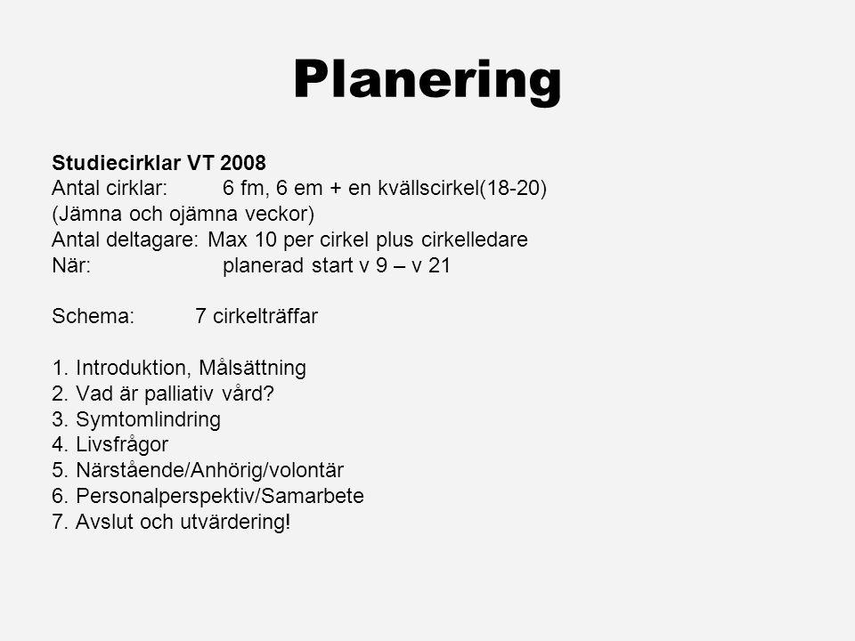Planering Studiecirklar VT 2008 Antal cirklar:6 fm, 6 em + en kvällscirkel(18-20) (Jämna och ojämna veckor) Antal deltagare: Max 10 per cirkel plus cirkelledare När:planerad start v 9 – v 21 Schema: 7 cirkelträffar 1.