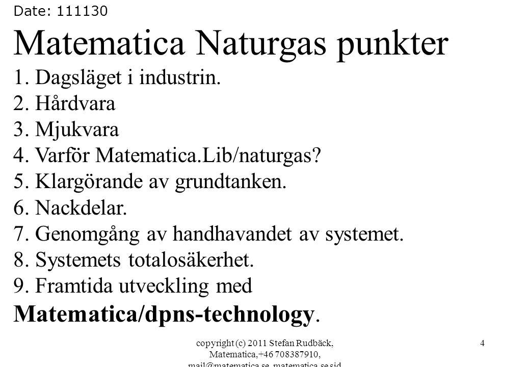 copyright (c) 2011 Stefan Rudbäck, Matematica,+46 708387910, mail@matematica.se, matematica.se sid 4 Date: 111130 Matematica Naturgas punkter 1.