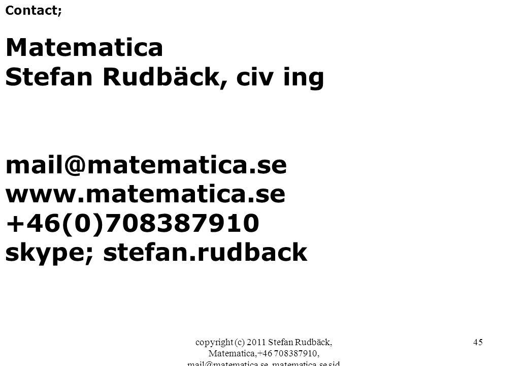 copyright (c) 2011 Stefan Rudbäck, Matematica,+46 708387910, mail@matematica.se, matematica.se sid 45 Contact; Matematica Stefan Rudbäck, civ ing mail@matematica.se www.matematica.se +46(0)708387910 skype; stefan.rudback