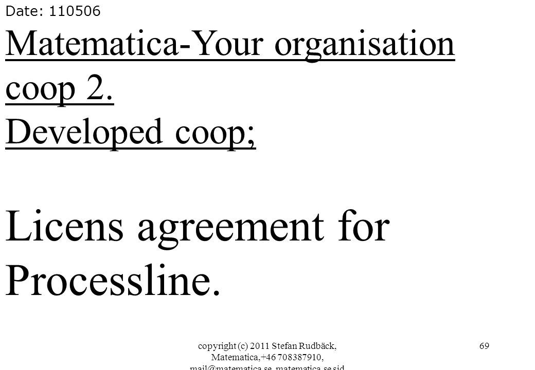 copyright (c) 2011 Stefan Rudbäck, Matematica,+46 708387910, mail@matematica.se, matematica.se sid 69 Date: 110506 Matematica-Your organisation coop 2.