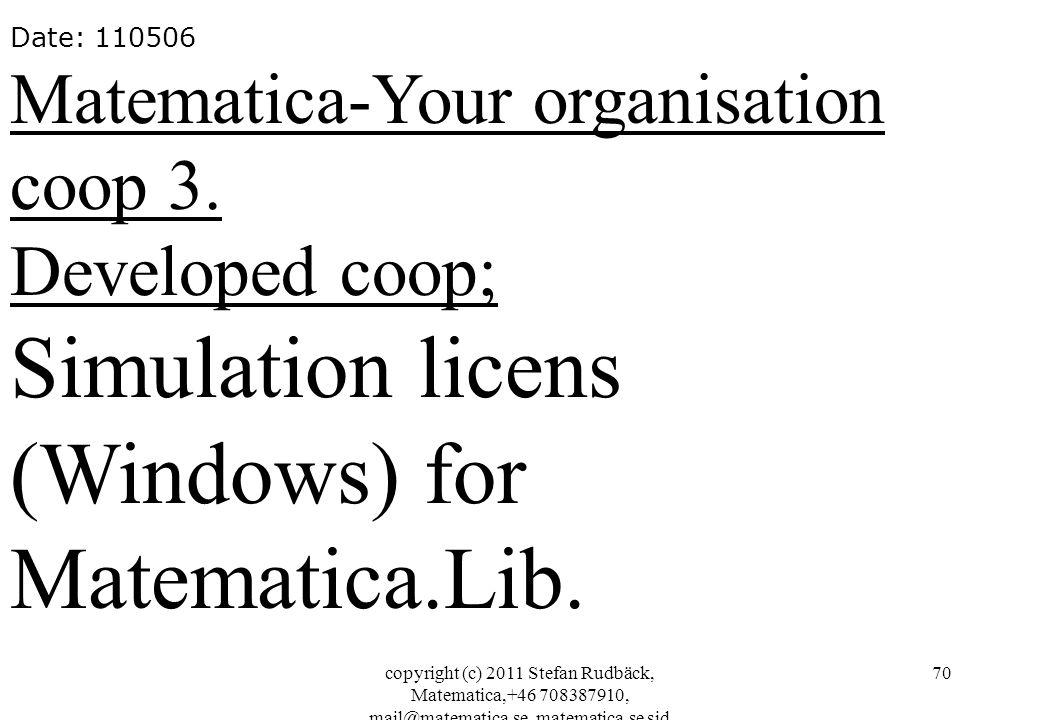 copyright (c) 2011 Stefan Rudbäck, Matematica,+46 708387910, mail@matematica.se, matematica.se sid 70 Date: 110506 Matematica-Your organisation coop 3.