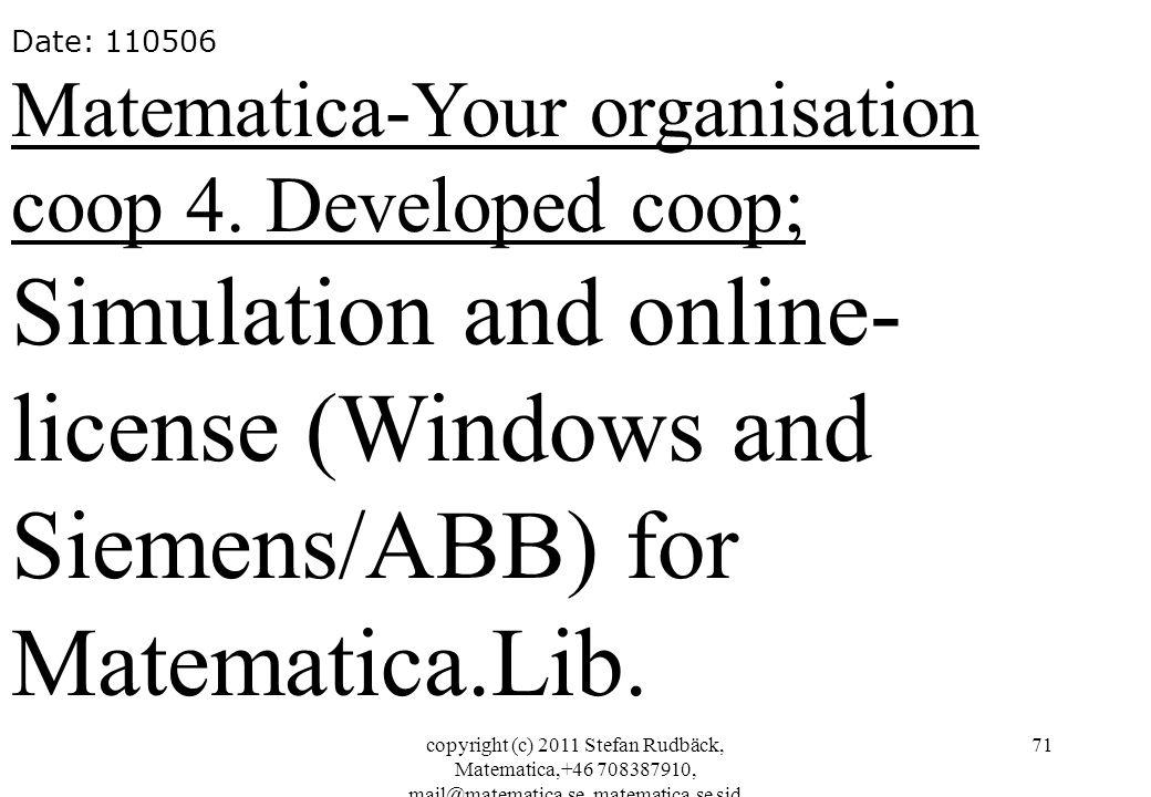 copyright (c) 2011 Stefan Rudbäck, Matematica,+46 708387910, mail@matematica.se, matematica.se sid 71 Date: 110506 Matematica-Your organisation coop 4.