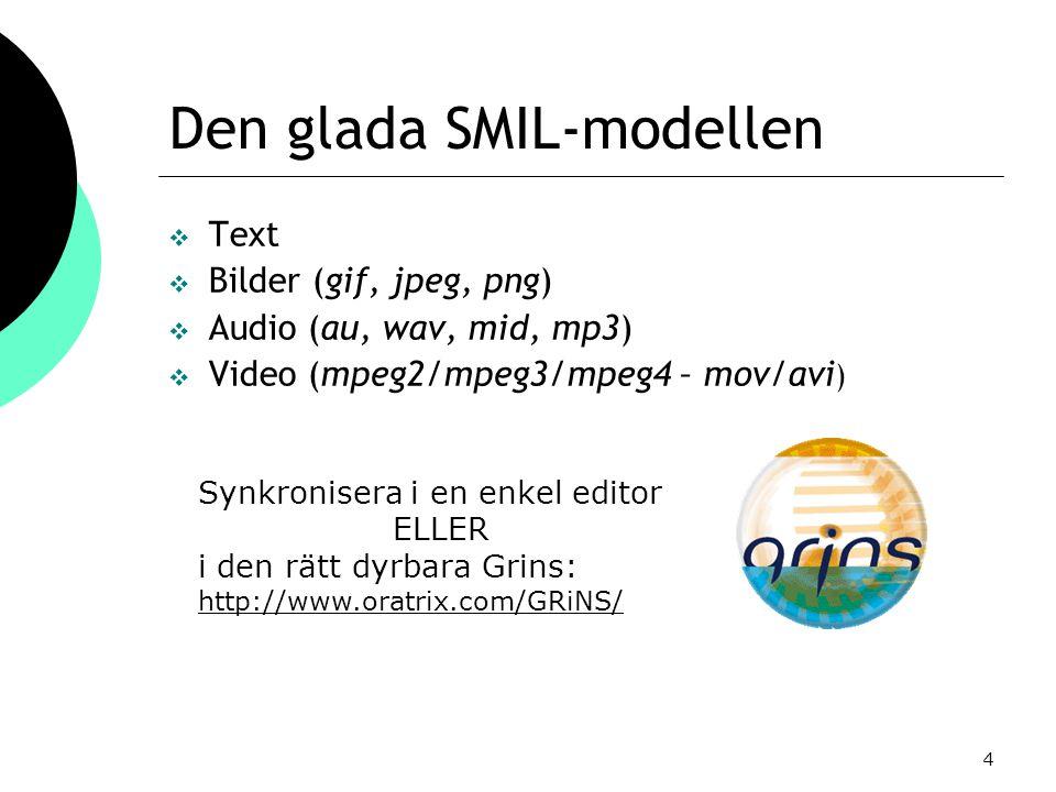 4 Den glada SMIL-modellen  Text  Bilder (gif, jpeg, png)  Audio (au, wav, mid, mp3)  Video (mpeg2/mpeg3/mpeg4 – mov/avi ) Synkronisera i en enkel editor ELLER i den rätt dyrbara Grins: http://www.oratrix.com/GRiNS/
