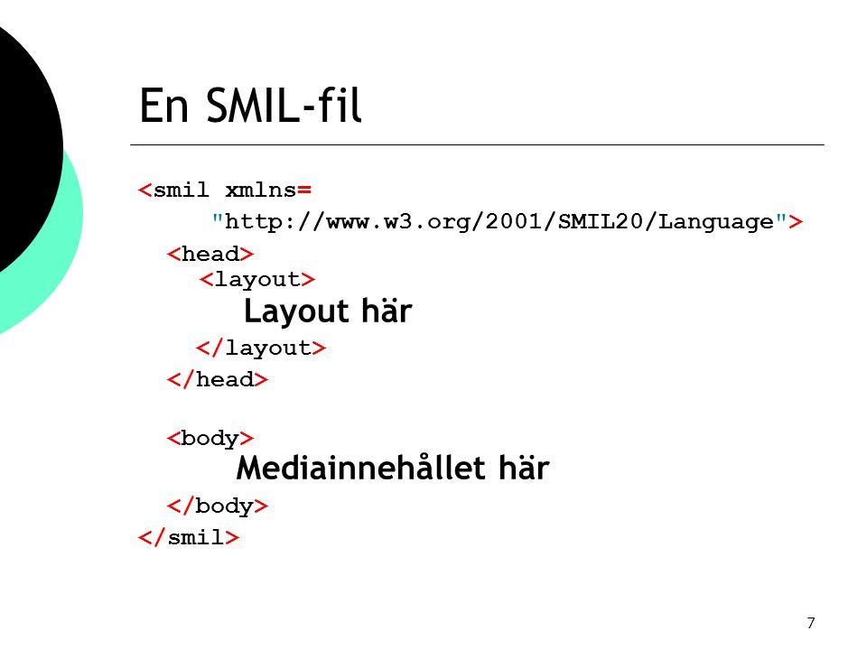 7 En SMIL-fil <smil xmlns= http://www.w3.org/2001/SMIL20/Language > Layout här Mediainnehållet här