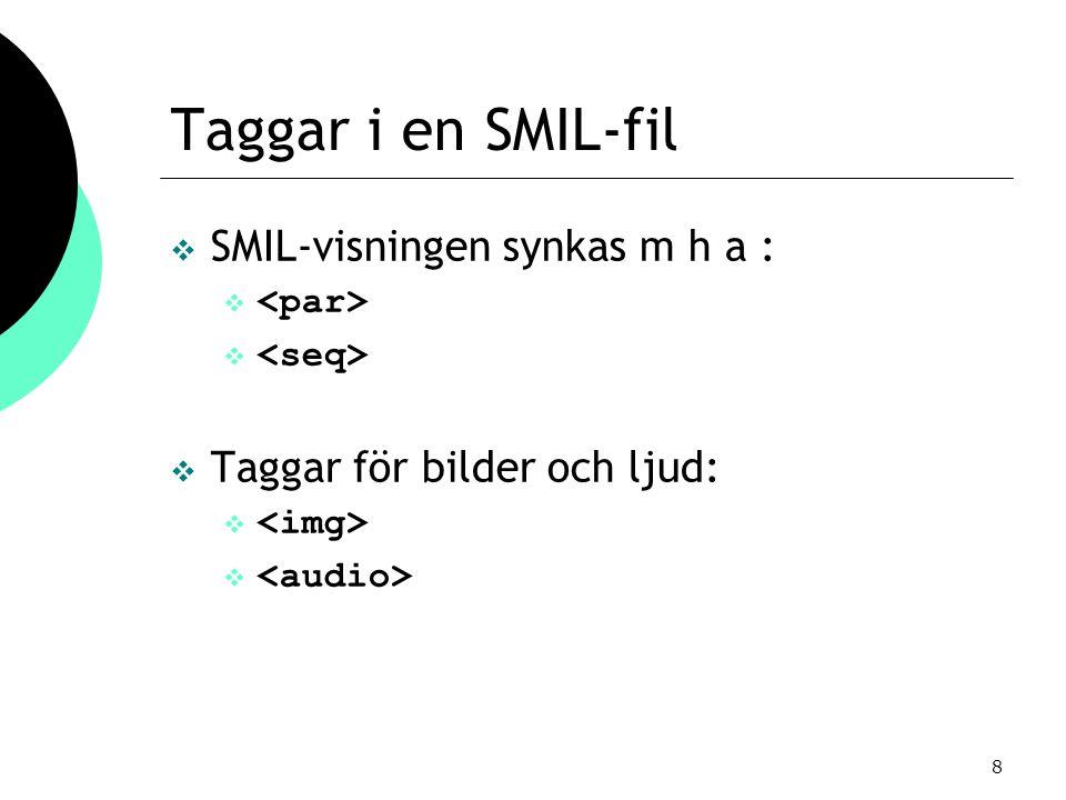 8 Taggar i en SMIL-fil  SMIL-visningen synkas m h a :   Taggar för bilder och ljud: 