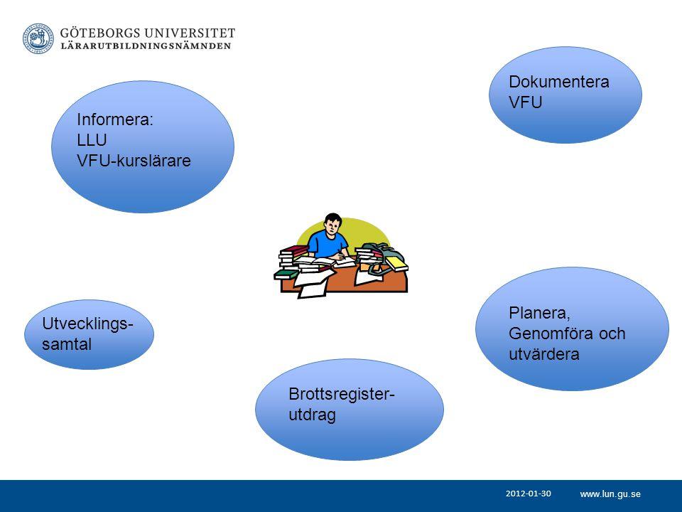 www.lun.gu.se 2012-01-30 Informera: LLU VFU-kurslärare Utvecklings- samtal Dokumentera VFU Planera, Genomföra och utvärdera Brottsregister- utdrag