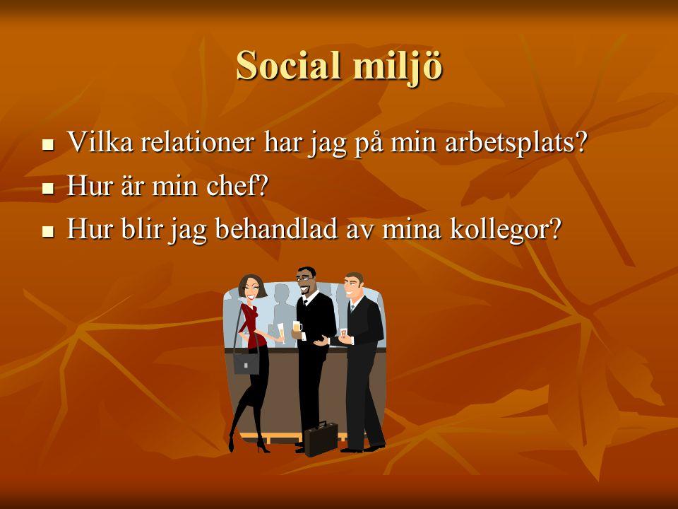 Social miljö Vilka relationer har jag på min arbetsplats? Vilka relationer har jag på min arbetsplats? Hur är min chef? Hur är min chef? Hur blir jag