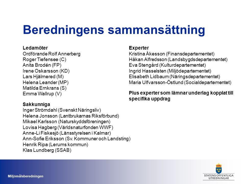 Miljömålsberedningen Ledamöter Ordförande Rolf Annerberg Roger Tiefensee (C) Anita Brodén (FP) Irene Oskarsson (KD) Lars Hjälmered (M) Helena Leander