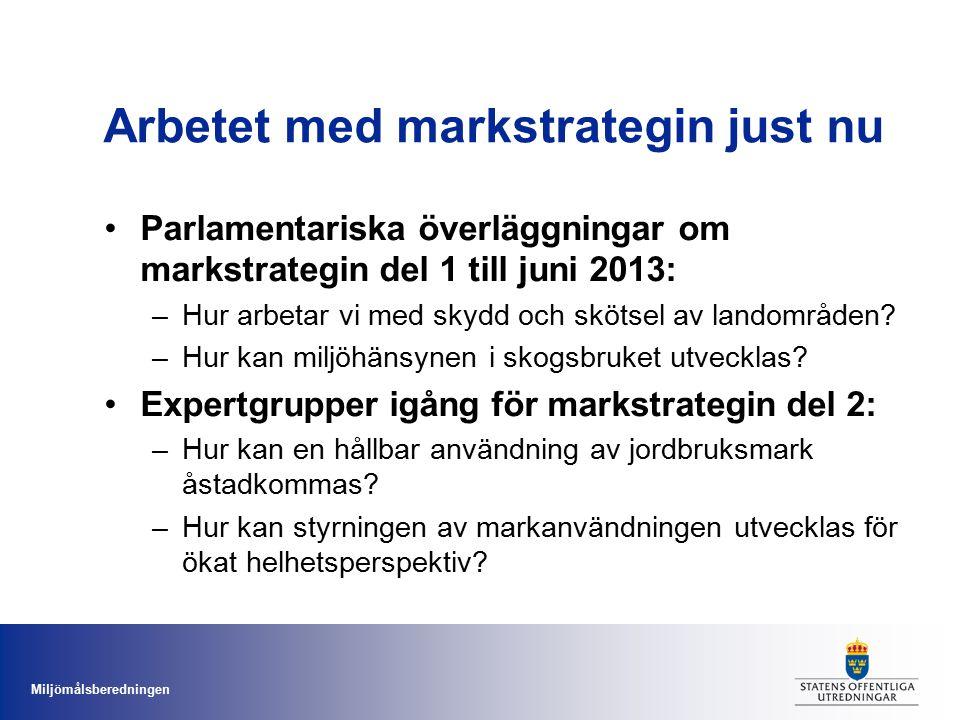 Miljömålsberedningen Arbetet med markstrategin just nu Parlamentariska överläggningar om markstrategin del 1 till juni 2013: –Hur arbetar vi med skydd
