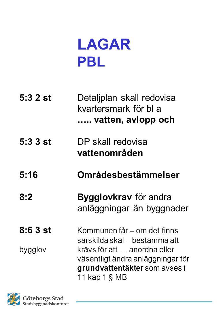 LAGAR PBL 5:3 2 stDetaljplan skall redovisa kvartersmark för bl a ….. vatten, avlopp och 5:3 3 stDP skall redovisa vattenområden 5:16Områdesbestämmels