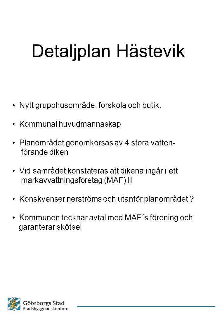 Detaljplan Hästevik Nytt grupphusområde, förskola och butik. Kommunal huvudmannaskap Planområdet genomkorsas av 4 stora vatten- förande diken Vid samr