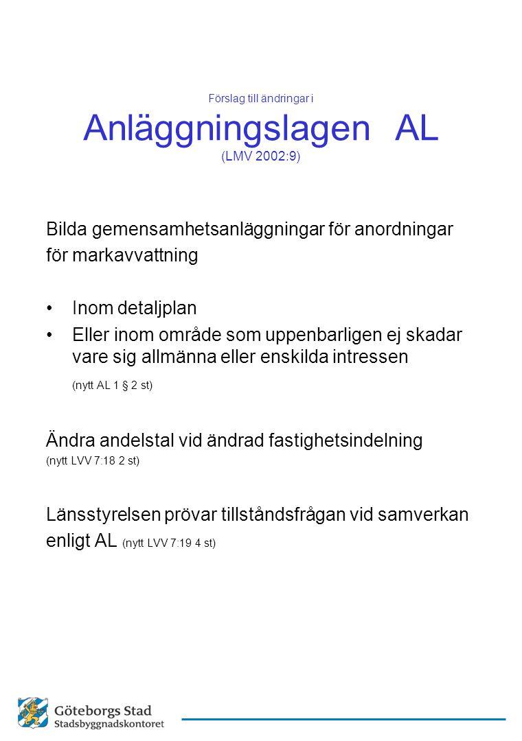 Förslag till ändringar i Anläggningslagen AL (LMV 2002:9) Bilda gemensamhetsanläggningar för anordningar för markavvattning Inom detaljplan Eller inom