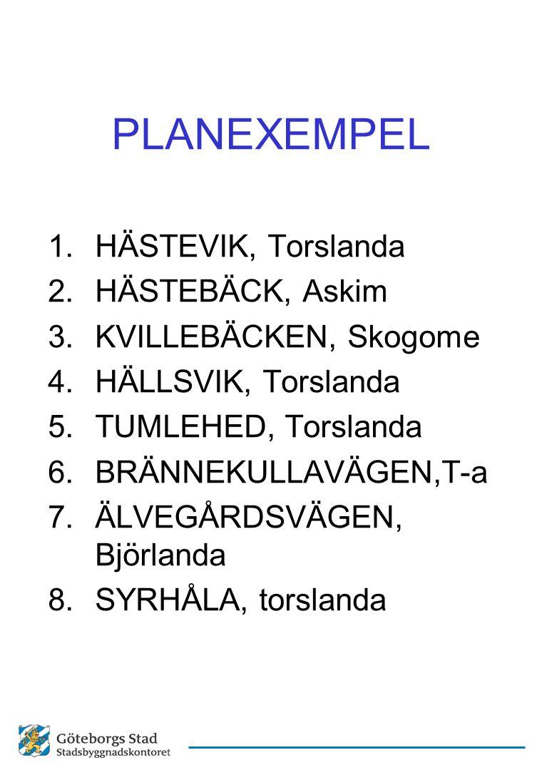 PLANEXEMPEL 1.HÄSTEVIK, Torslanda 2.HÄSTEBÄCK, Askim 3.KVILLEBÄCKEN, Skogome 4.HÄLLSVIK, Torslanda 5.TUMLEHED, Torslanda 6.BRÄNNEKULLAVÄGEN,T-a 7.ÄLVE