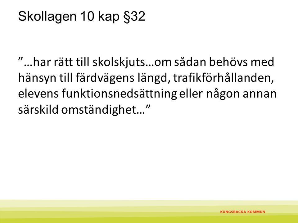 """Skollagen 10 kap §32 """"…har rätt till skolskjuts…om sådan behövs med hänsyn till färdvägens längd, trafikförhållanden, elevens funktionsnedsättning ell"""