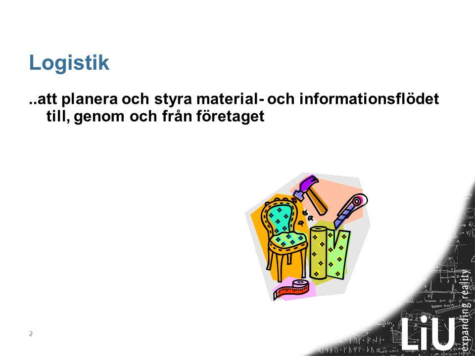 2 Logistik..att planera och styra material- och informationsflödet till, genom och från företaget