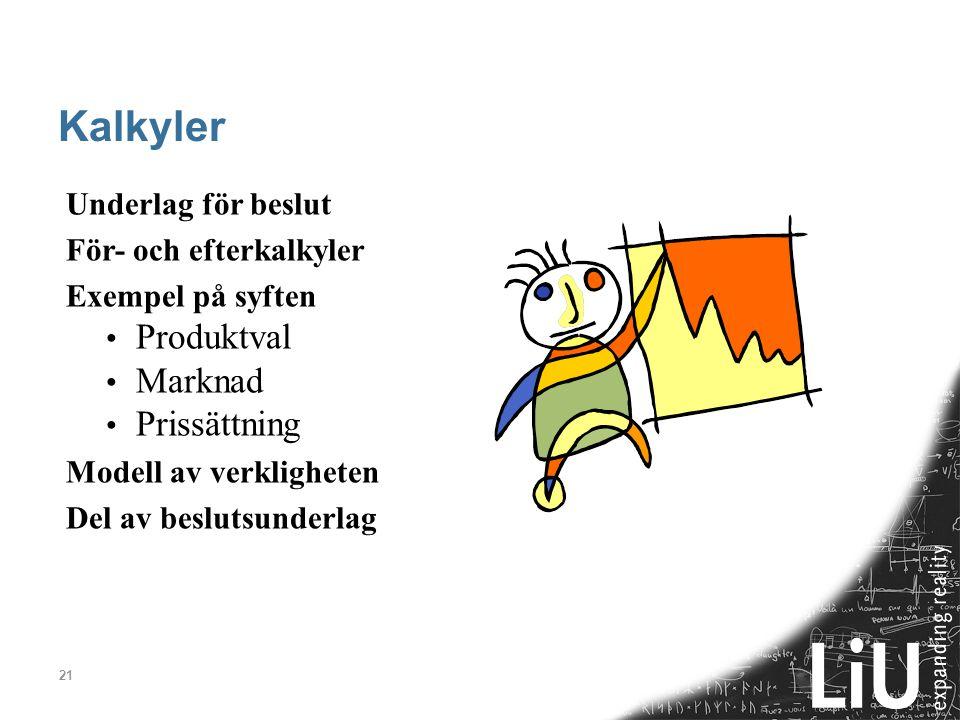 21 Kalkyler Underlag för beslut För- och efterkalkyler Exempel på syften Produktval Marknad Prissättning Modell av verkligheten Del av beslutsunderlag