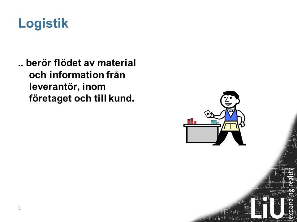 3 Logistik.. berör flödet av material och information från leverantör, inom företaget och till kund.