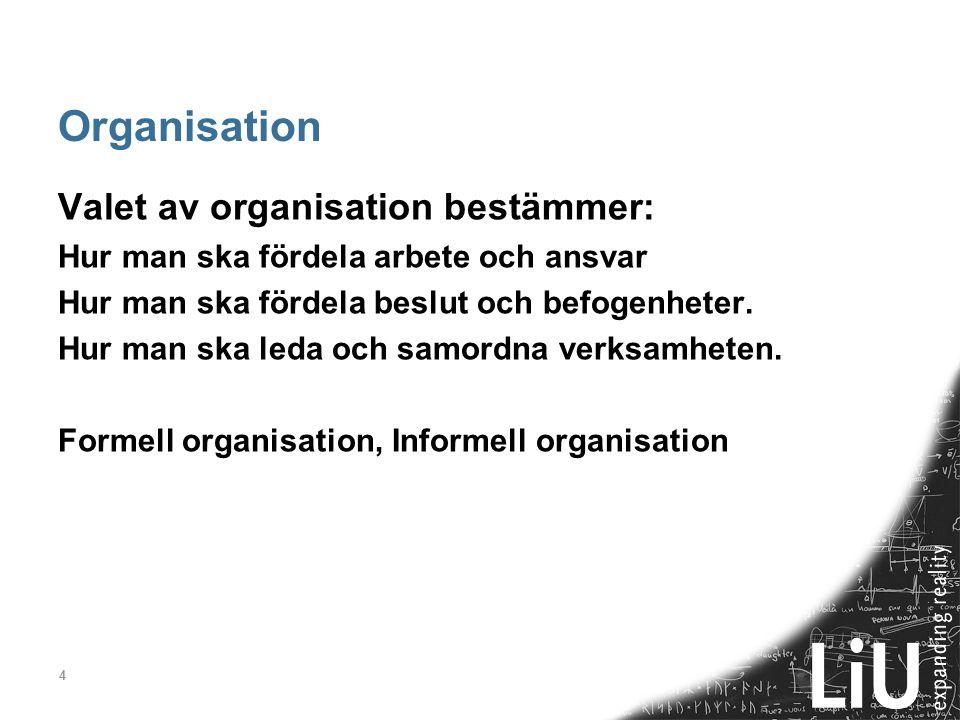 4 Organisation Valet av organisation bestämmer: Hur man ska fördela arbete och ansvar Hur man ska fördela beslut och befogenheter. Hur man ska leda oc