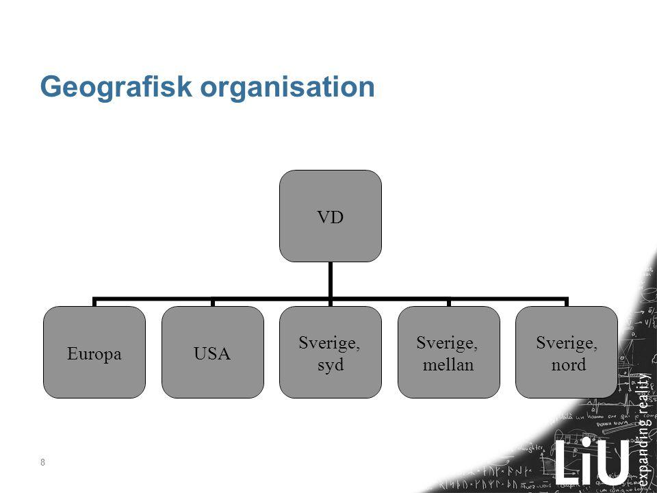 8 Geografisk organisation VD EuropaUSA Sverige, syd Sverige, mellan Sverige, nord