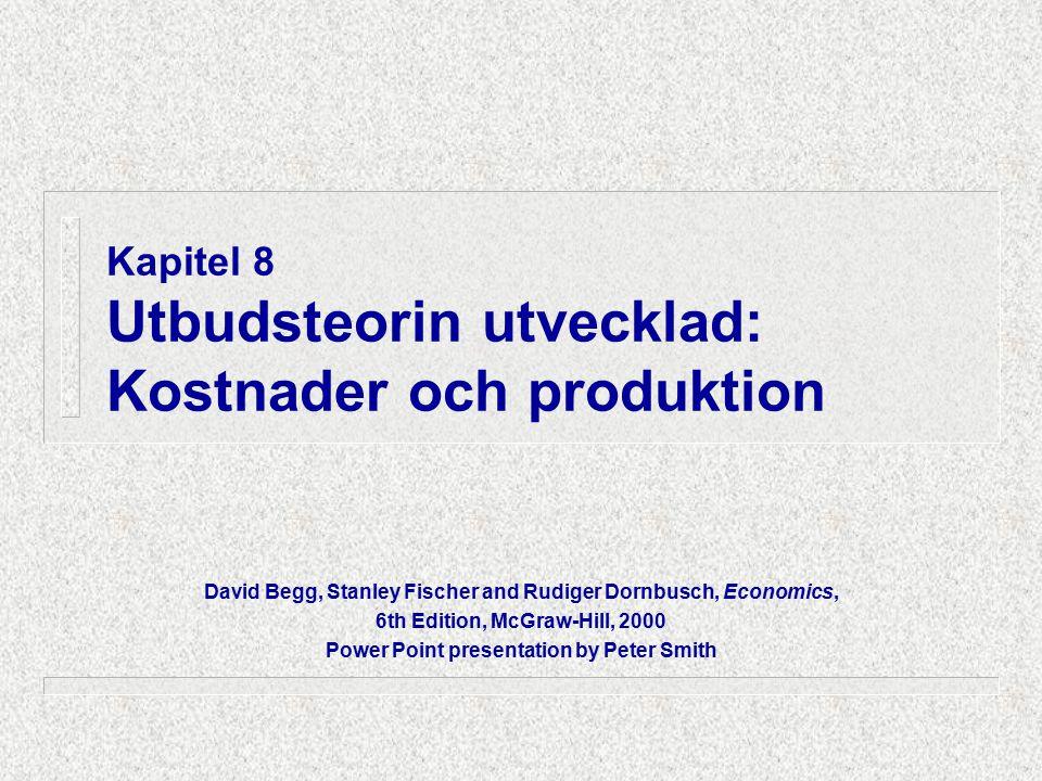 8.1 Att välja output KOSTNADERINTÄKTER Teknologi & kostnader för inköp av produktionsfaktorer TC kurvor (kort & lång sikt) AC (kort & lång sikt) MC Efterfråge- kurvan AR MR KOLLA: producera på KS.