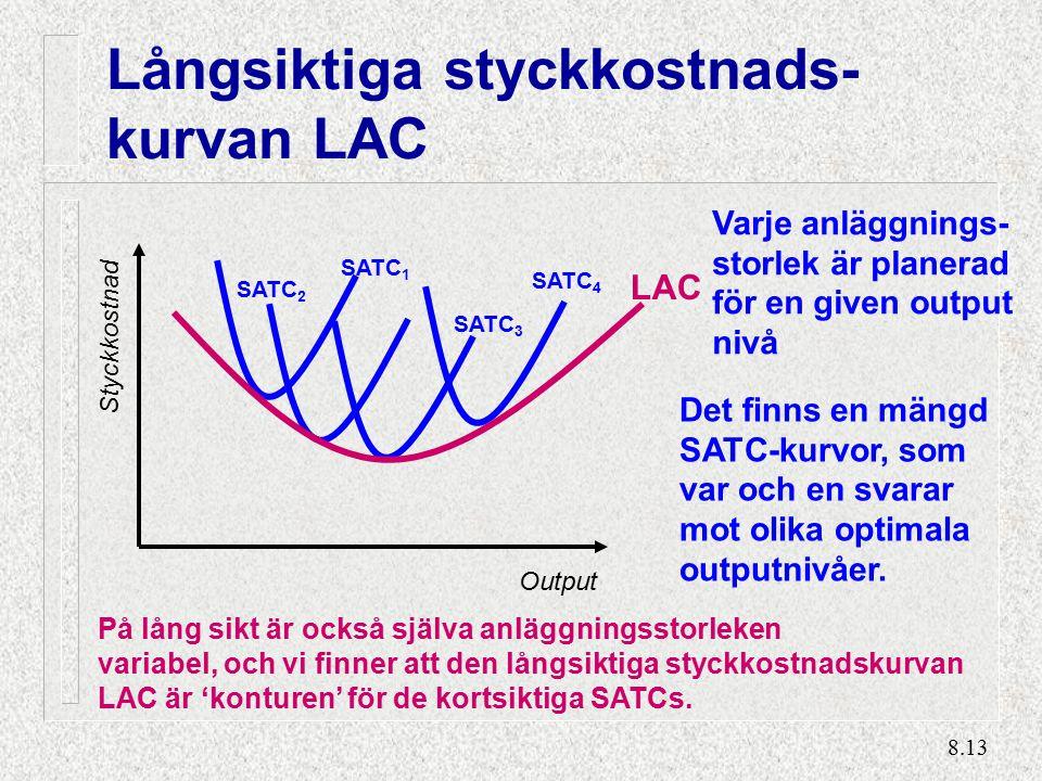 8.13 Långsiktiga styckkostnads- kurvan LAC Output Styckkostnad SATC 1 Varje anläggnings- storlek är planerad för en given output nivå SATC 2 SATC 3 SATC 4 Det finns en mängd SATC-kurvor, som var och en svarar mot olika optimala outputnivåer.
