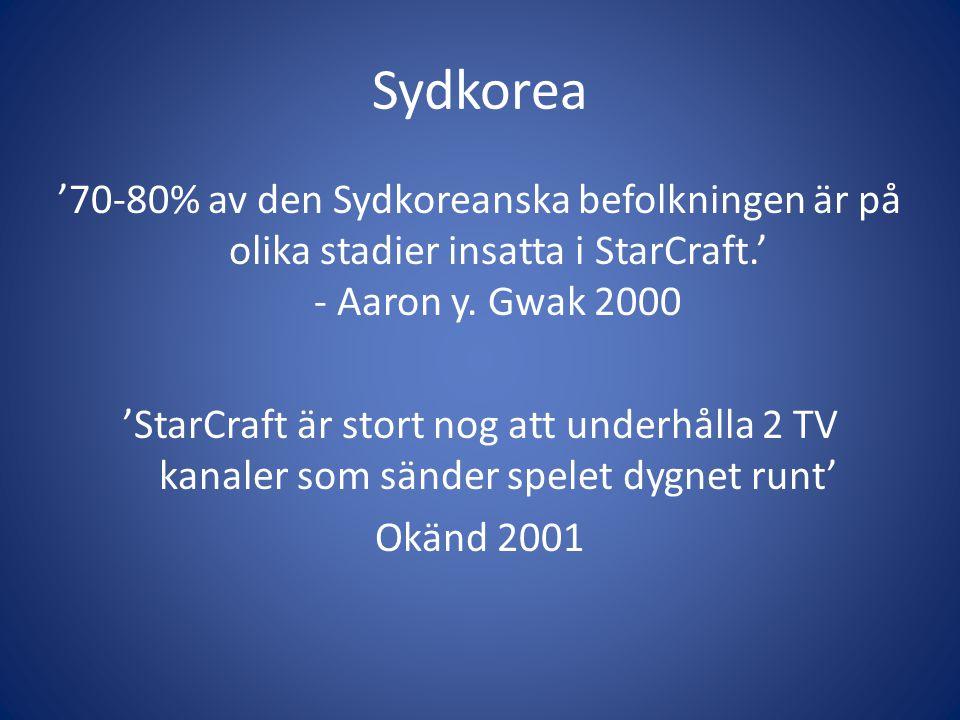 Sydkorea '70-80% av den Sydkoreanska befolkningen är på olika stadier insatta i StarCraft.' - Aaron y. Gwak 2000 'StarCraft är stort nog att underhåll