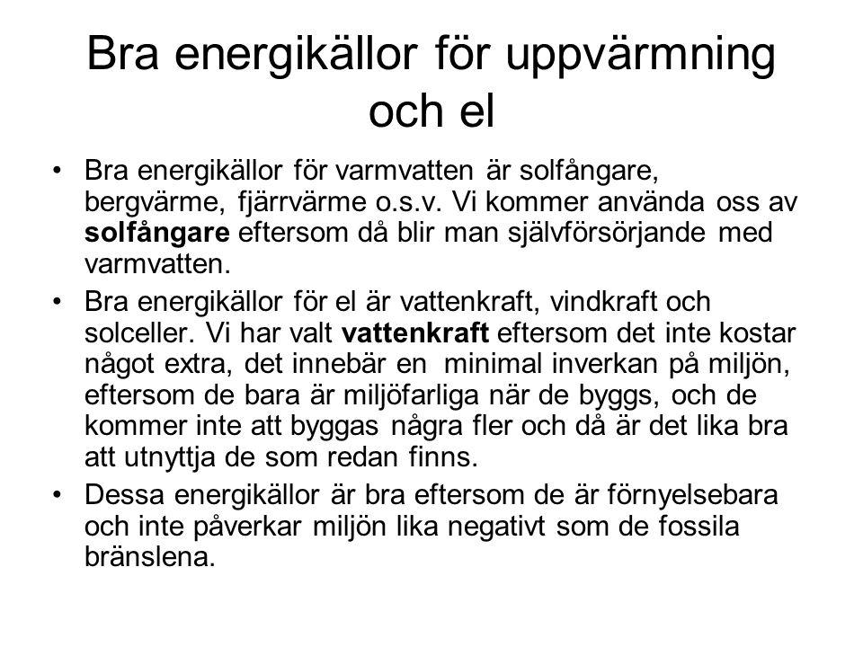Bra energikällor för uppvärmning och el Bra energikällor för varmvatten är solfångare, bergvärme, fjärrvärme o.s.v. Vi kommer använda oss av solfångar