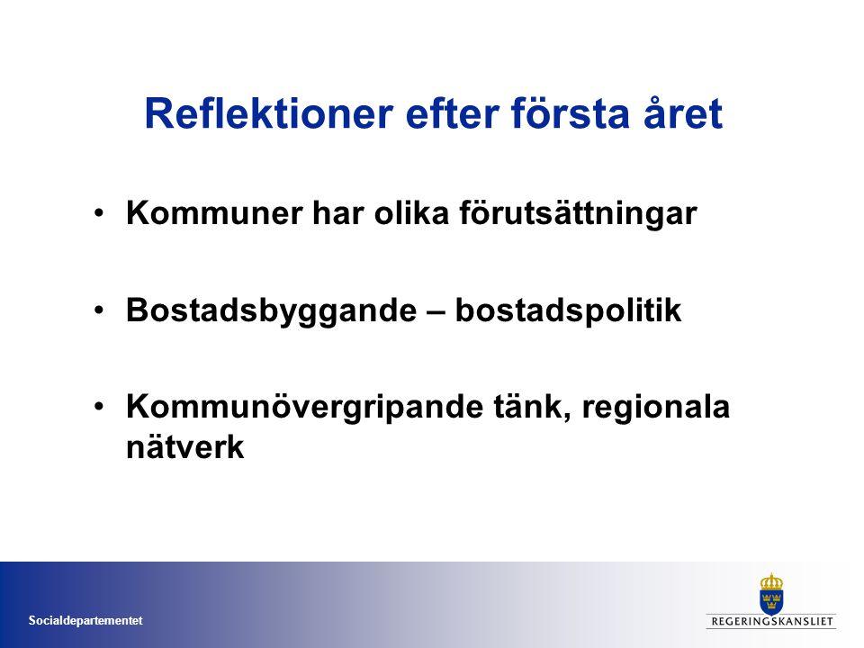 Socialdepartementet Reflektioner efter första året Kommuner har olika förutsättningar Bostadsbyggande – bostadspolitik Kommunövergripande tänk, region