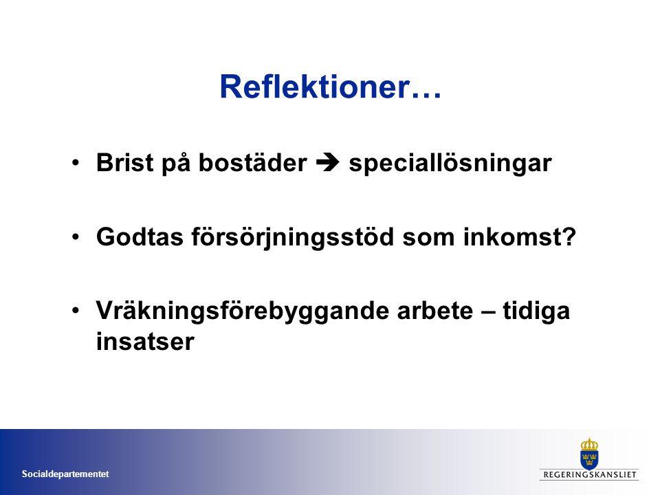 Socialdepartementet Reflektioner… Bostad Först prövas i allt fler kommuner Tiggeri/hemlöshet bland EU/EES- medborgare allt mer synligt Goda exempel på arbetsmetoder