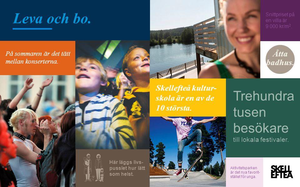 På sommaren är det tätt mellan konserterna. Skellefteå kultur- skola är en av de 10 största. Snittpriset på en villa är 9 000 kr/m 2. Åtta badhus. Tre