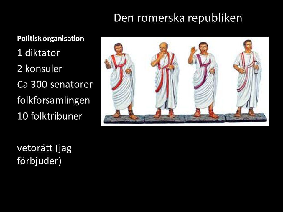 Politisk organisation Den romerska republiken 1 diktator 2 konsuler Ca 300 senatorer folkförsamlingen 10 folktribuner vetorätt (jag förbjuder)