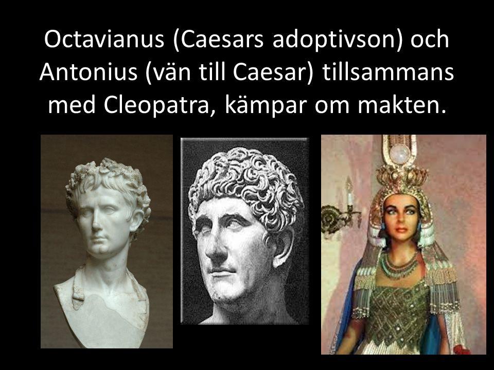 Octavianus kallad Augustus (den vördnadsvärde) Pax romana Har lärt sig av Caesars öde och kallar sig inte diktator Håller soldaterna och befolkningen på gott humör med mycket pengar Gör senaten maktlös Kallar sig Caesar som tillnamn Styr i 45 år