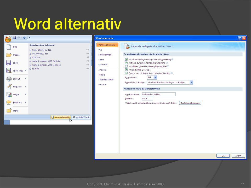 Word alternativ Copyright, Mahmud Al Hakim, Hakimdata.se 200811