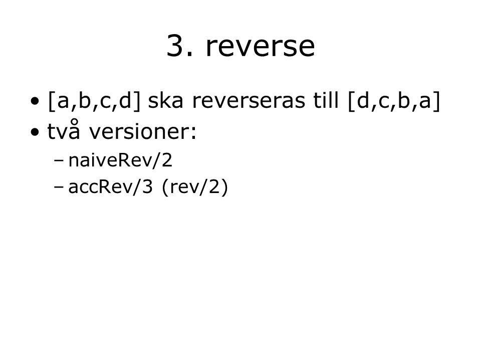 3. reverse [a,b,c,d] ska reverseras till [d,c,b,a] två versioner: –naiveRev/2 –accRev/3 (rev/2)