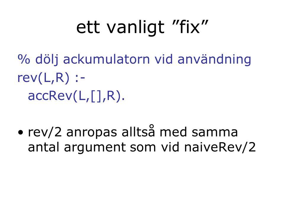 ett vanligt fix % dölj ackumulatorn vid användning rev(L,R) :- accRev(L,[],R).