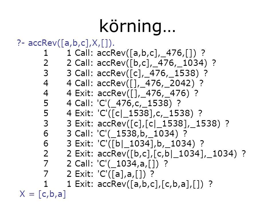 körning… - accRev([a,b,c],X,[]). 1 1 Call: accRev([a,b,c],_476,[]) .