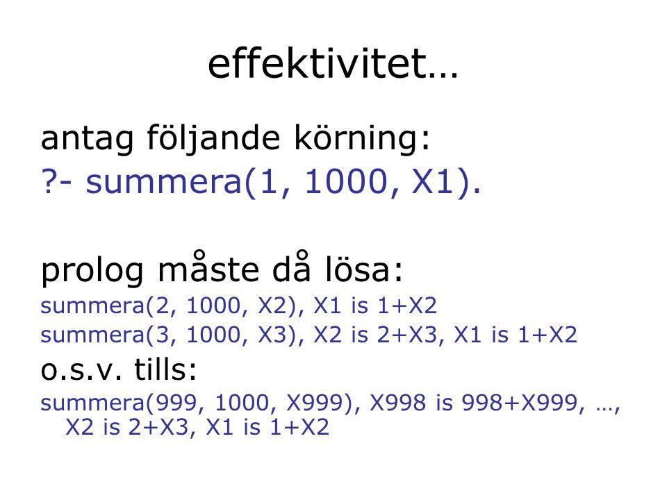 effektivitet… antag följande körning: - summera(1, 1000, X1).